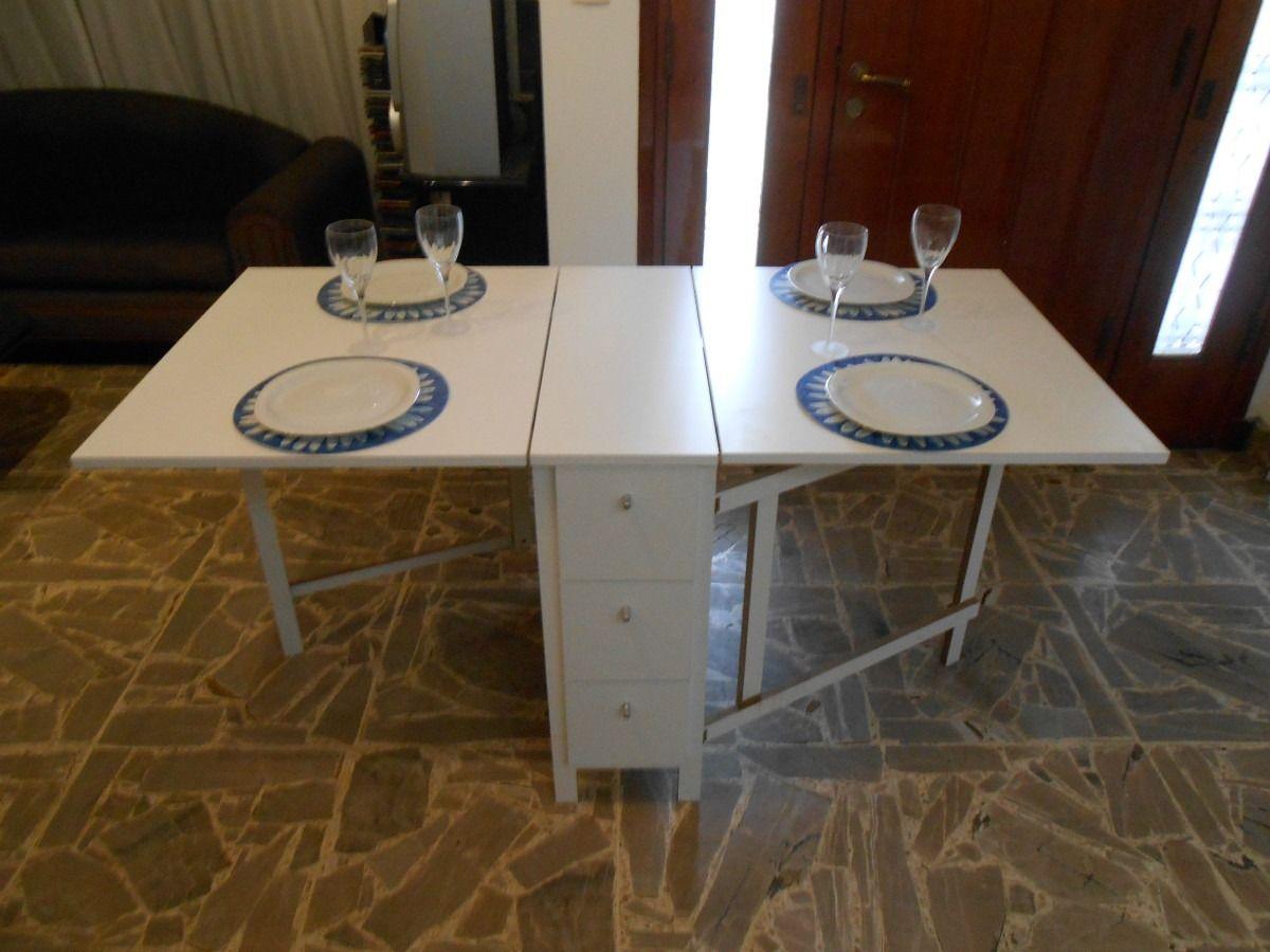 Mesa plegable cocina comedor madera auxiliar melamin - Mesas de cocina plegable ...