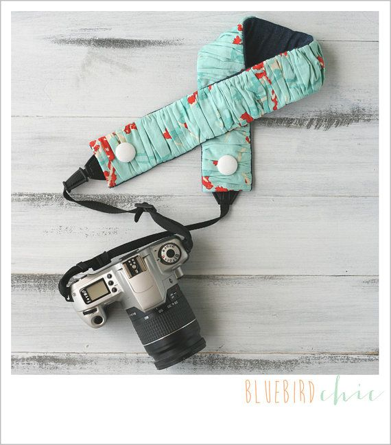 ruched camera strap cover  lakeside in the rain by bluebirdchic