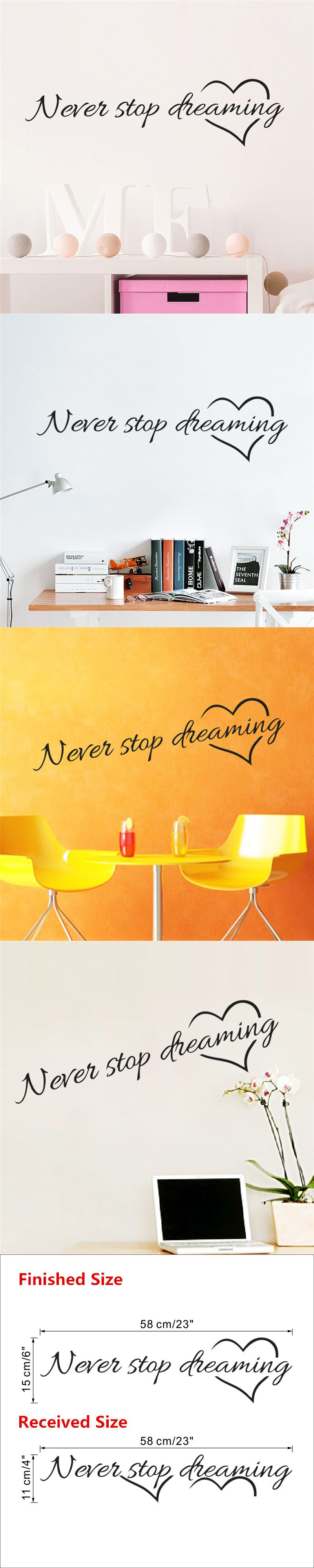 Inspirational warm quote warm letter never stop dreaming wall ...
