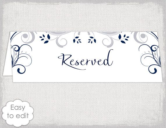 Wedding Reserved Sign Card Template Scroll Printable Reserve Table Tent Silver Gray Navy YOU EDIT Word PDF Digital Download