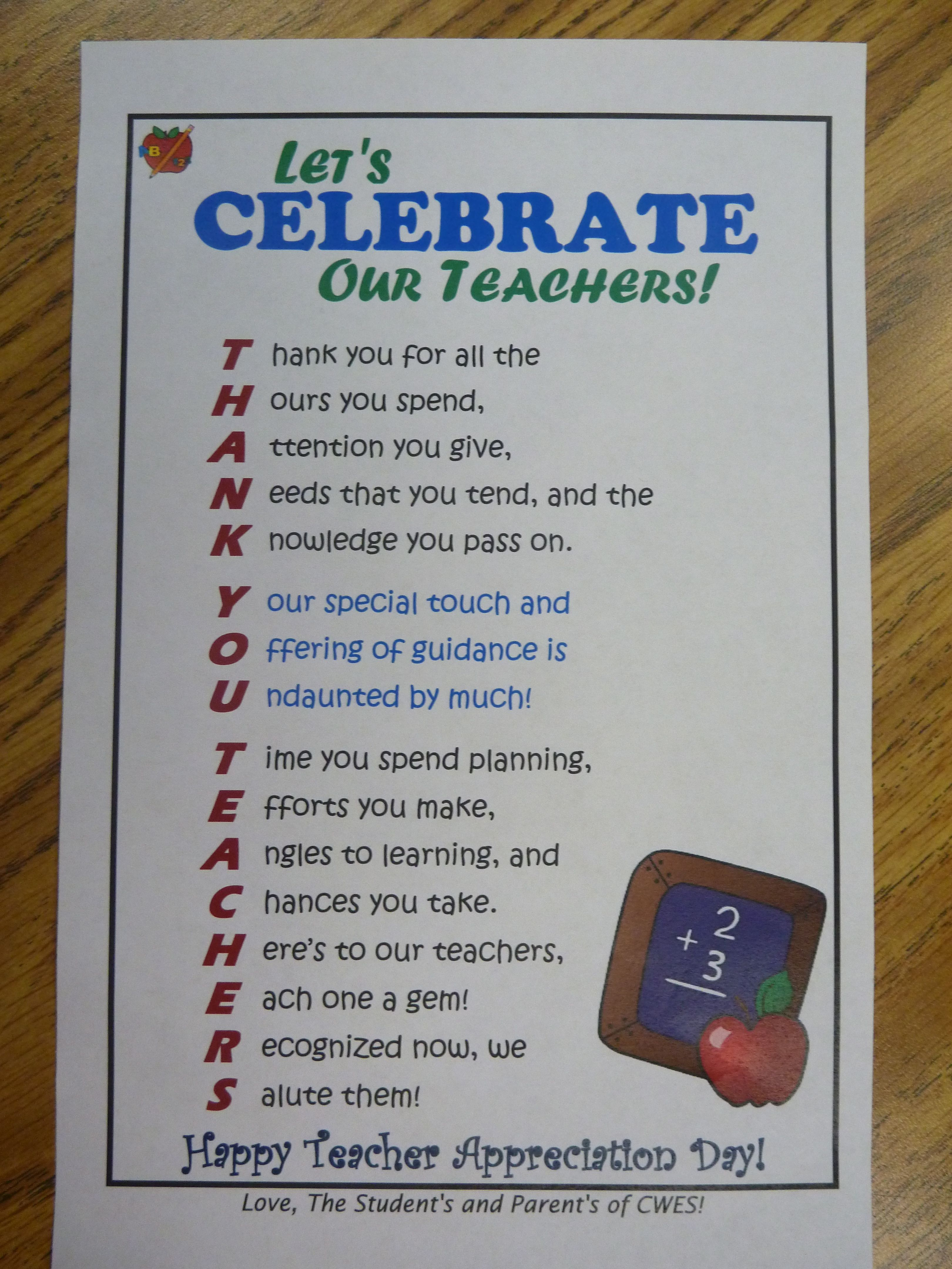 Teacher Appreciation Flyer - I placed this in each of the ...