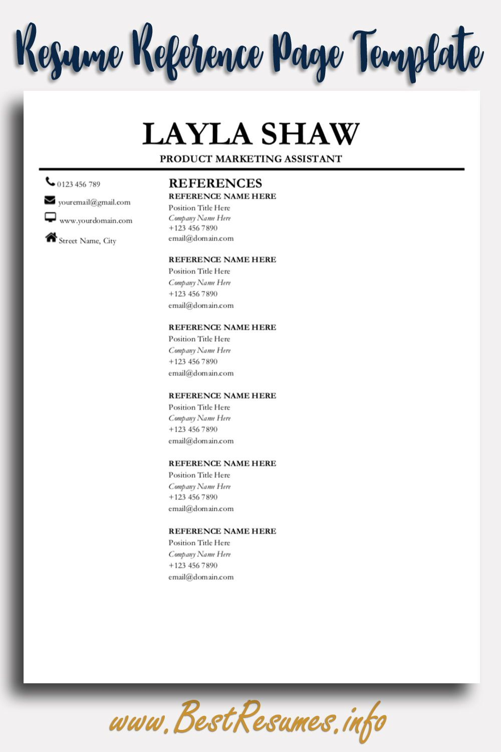 Professional Resume Template Layla Shaw Reference Page For