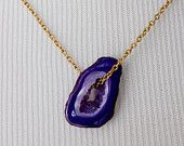The Geologist- Bohemian Purple Geode Crystal Necklace No4