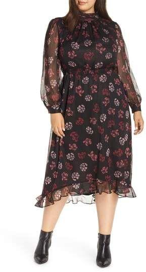 622f1827f61 Vince Camuto Floral Midi Dress - Plus Size