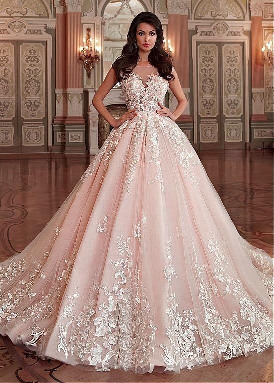 Stunning Light Pink Wedding Dress,Appliques Lace Sleeveless Bridal ...