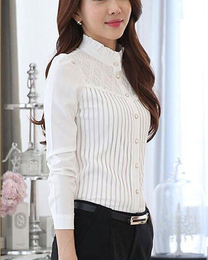 e2b9c8d392df49 DPO Women's Vintage Collared Pleated Button Down Shirt Long Sleeve Lace  Blouse at Amazon Women's Clothing store: