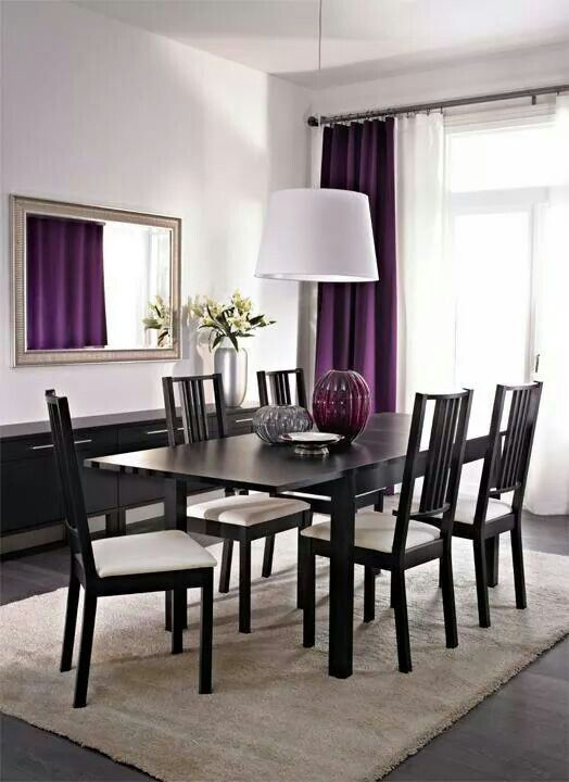 Dinning room with some purple accent