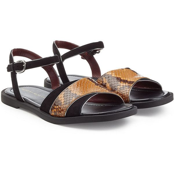 Marc by Marc Jacobs Embossed Leather and Suede Flat Sandals (1,275 HKD) ❤ liked on Polyvore featuring shoes, sandals, black, black criss cross sandals, low heel sandals, flat leather sandals, leather sole shoes and black flat sandals