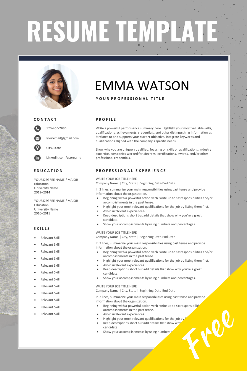 Free Resume Template With Photo Free Resume Template Word