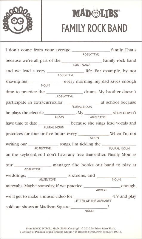 This is an image of Challenger Printable Mad Libs for Teens