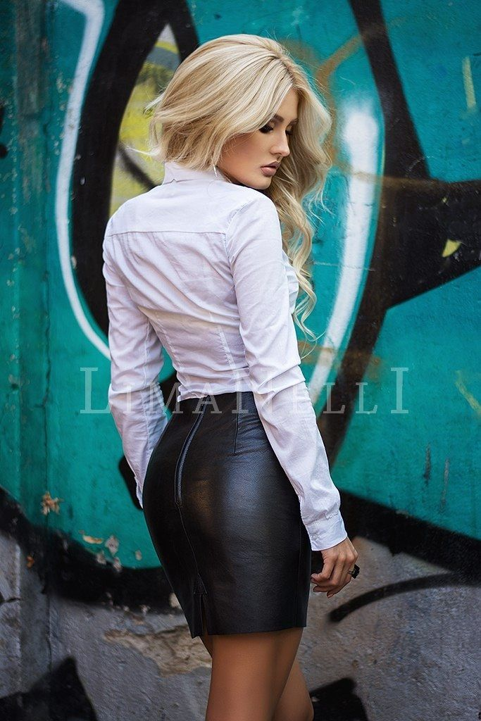 Leather skirt slut
