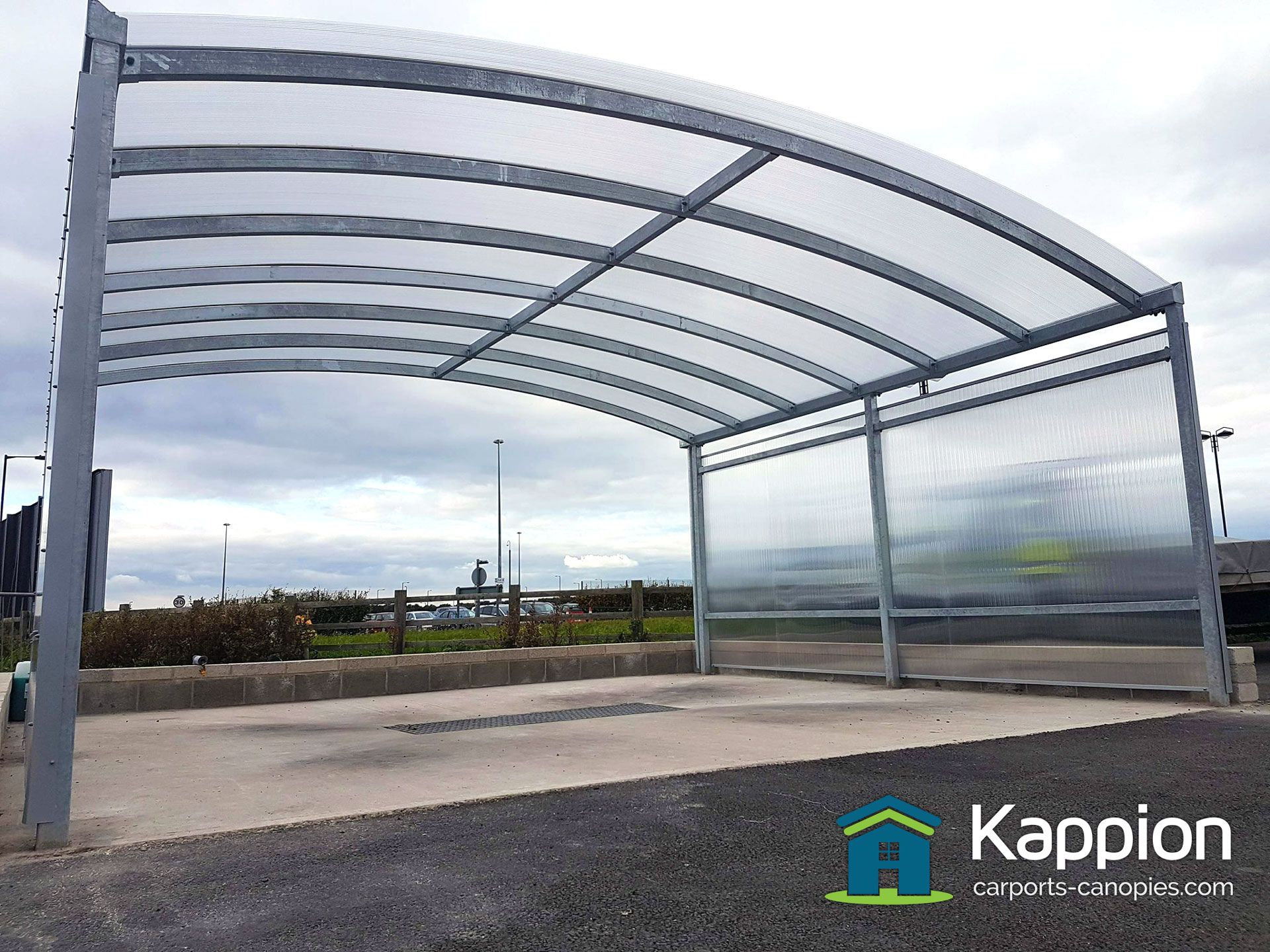 Carport canopy car valet bay with infill sidewalls installed at