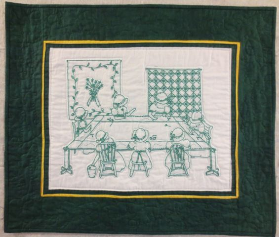 Quilts, Green Quilt, Embroidery
