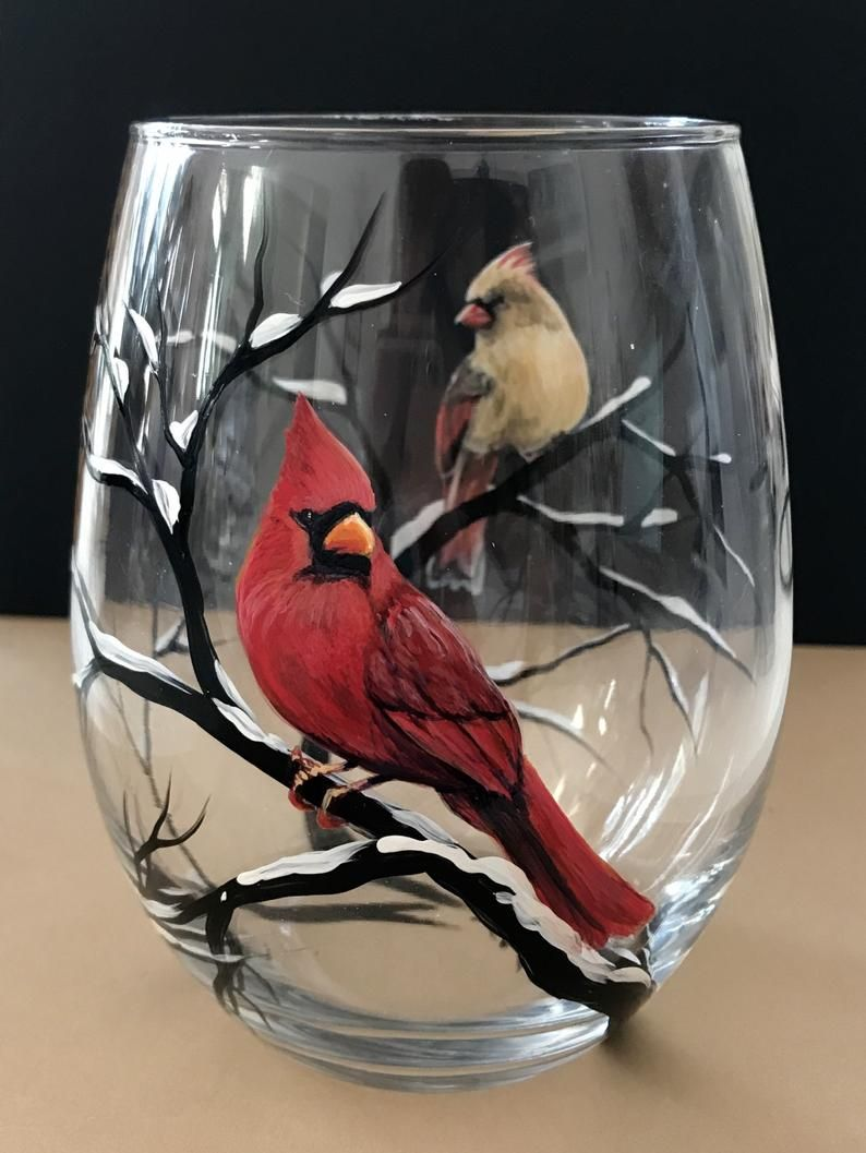 Bird Wine Glass Cardinal Bluejay Any Two Species Winter Snowy Etsy Wine Glass Painted Wine Glasses Winter Wine Glasses