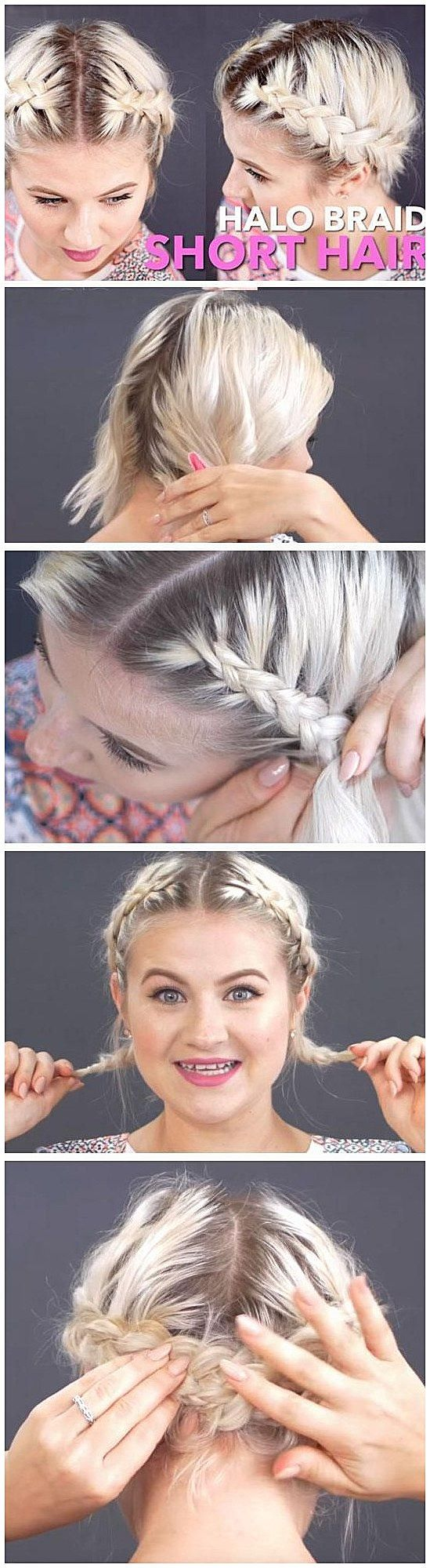 Halo braid easy festival hairstyles for short hair that works
