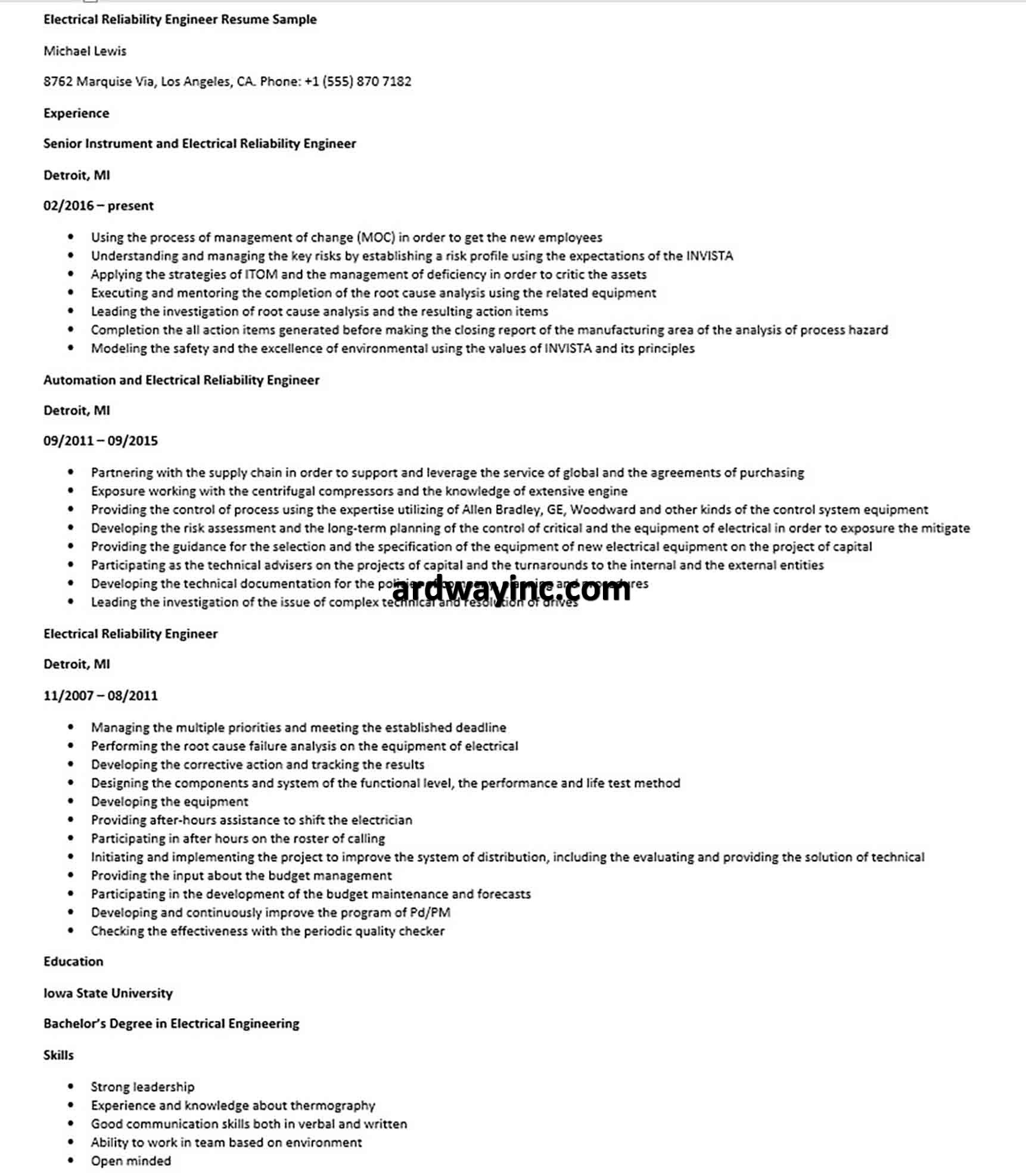 Electrical reliability engineer resume sample