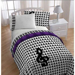 Glee Piano Treble Clef Music Themed Twin Full Comforter Set 4 Piece Bedding