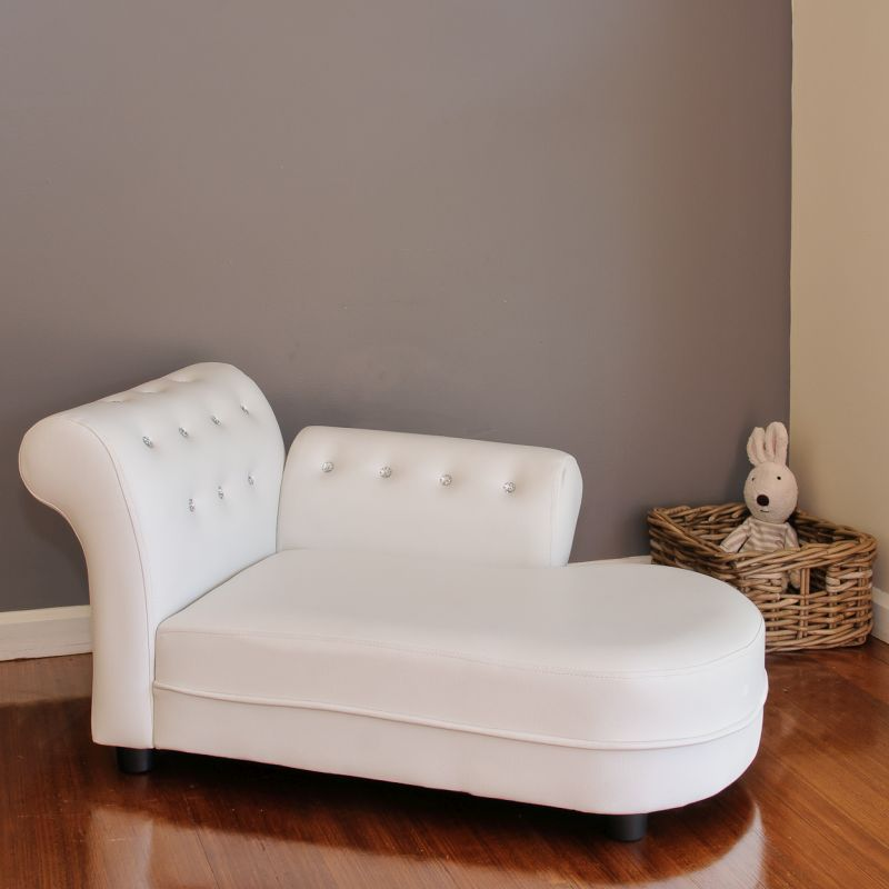 Small Kids Chaise Lounge Sofa in White PU Leather
