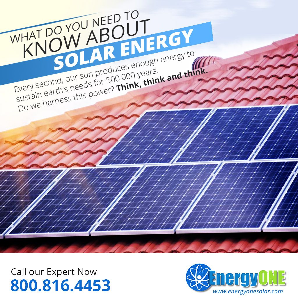 What do you need to Know about Solar Energy  -  Every second, our sun produces enough energy to sustain earth's needs for 500,000 years. Do we harness this power? Think, think and think. More at https://energyonesolar.com