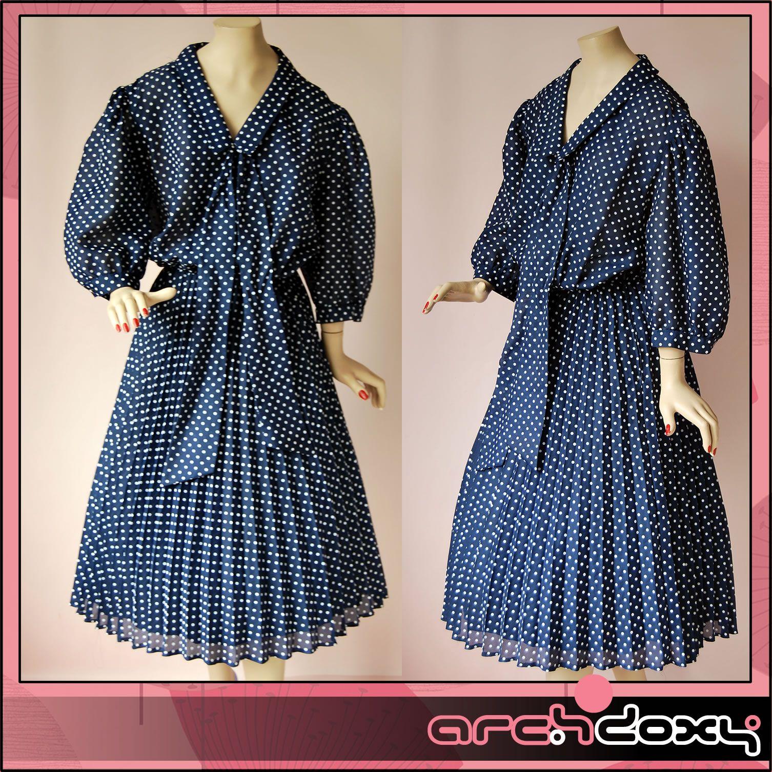 Vintage 80s Sailor Tie Plus Size Polka Dot Dress #vintagedress #retro #vintage  http://www.ebay.co.uk/itm/Vintage-1980s-Sailor-Tie-Plus-Size-Polka-Dot-Navy-Pleated-New-Wave-Dress-UK20-/371656273794