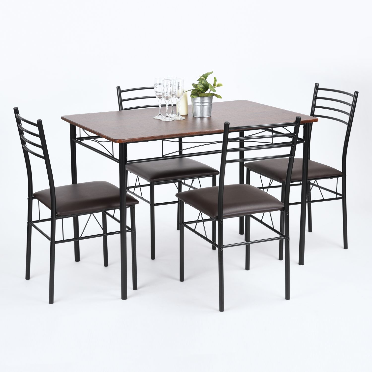 4 Seater 100cm Dining Table Set Walnut Metal 5 Piece Kitchen Room