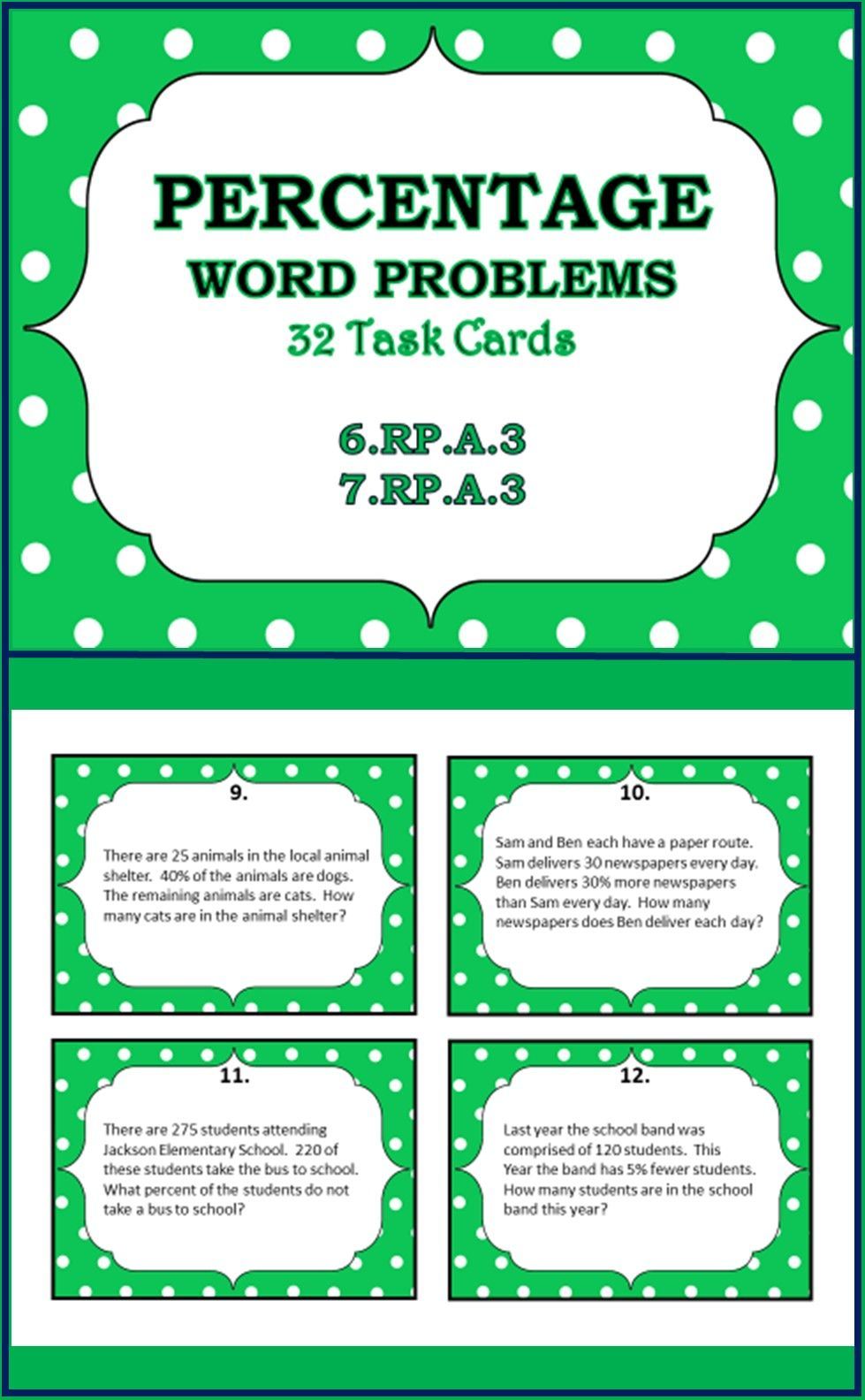 Percentage Word Problems Task Cards 32 Grades 6 7 8 Word Problems Percent Word Problems Word Problems Task Cards