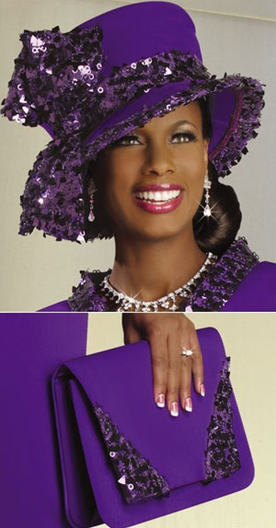Two piece womens church skirt suit. Color  Suit available in Dark Purple.  Hat and Purse available in Dark Purple. d12b7b4098c