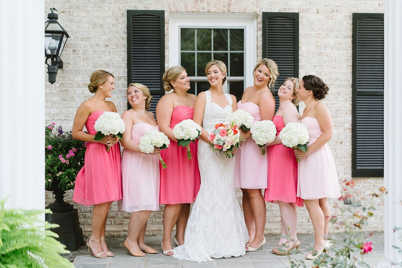 Light pink and bright pink bridesmaid dresses (love this look!) - Natalie Franke Photography