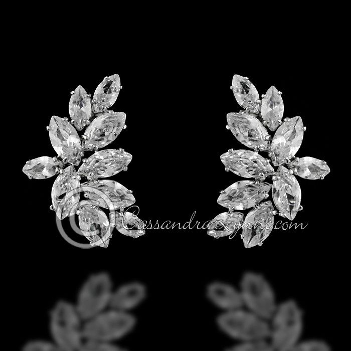 6a9152b2517bcb A sparkly design of marquise CZ in a curving burst pattern. A wonderful  style for any special occasion. Available in rhodium silver and gold plate.  Clip-on ...