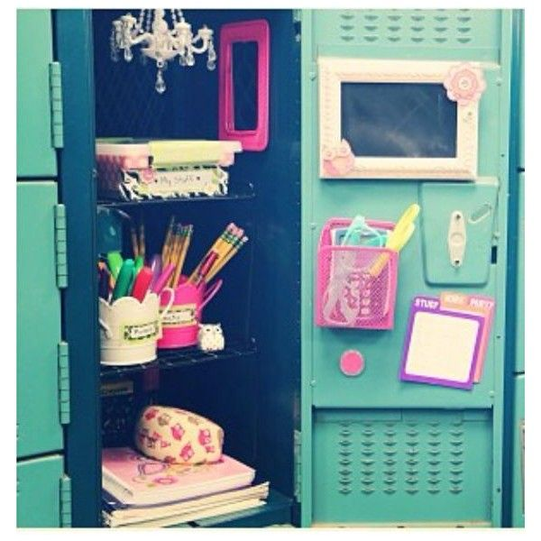 Back To School Locker Organization Diy Decorations Liked On Polyvore Featuring Home And Home D School Lockers School Locker Organization Diy School Supplies