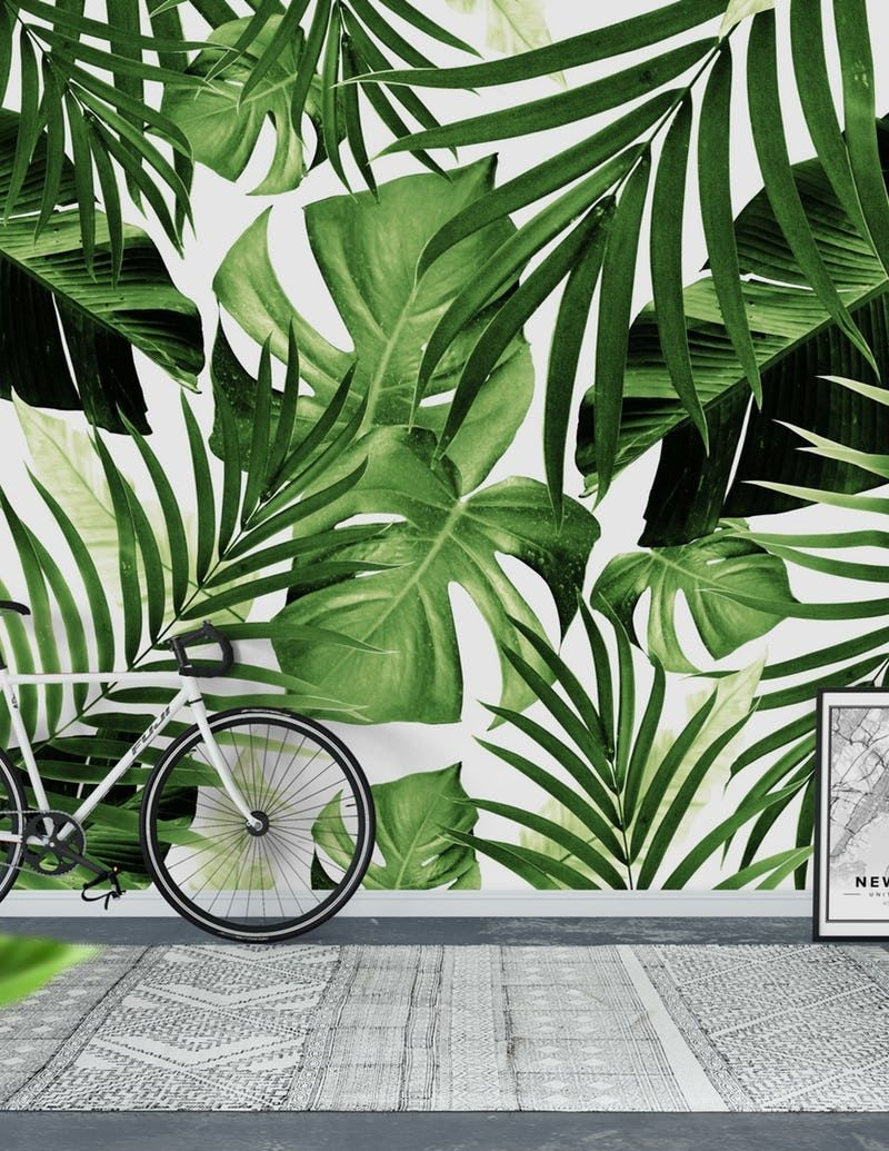Tropical Jungle Leaves 12 Wallpaper From Happywall Com Jungle Wallpaper Green Leaf Wallpaper Jungle Mural It's incredibly easy and bring the tropics to you instead! pinterest