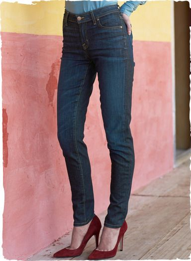 Our Skinny Jeans are slim fit with classic, 5-pocket styling  in soft, stretchy washed indigo cotton (98%) and elastane (2%).