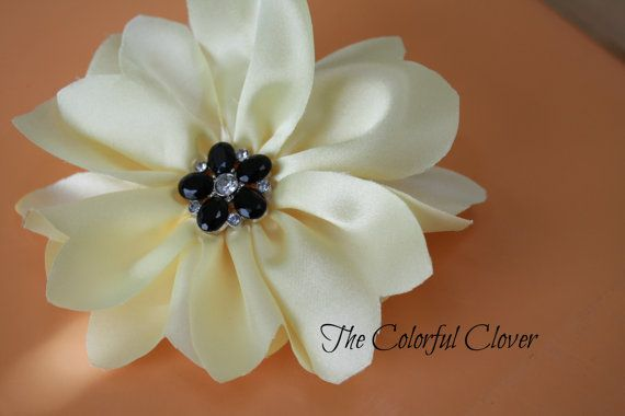 Yellow Handmade Flower with black flower by TheColorfulClover