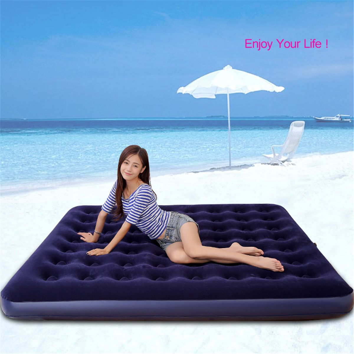 Inflatable Travel Car Lazy Air Bed Sleeping Mattress Couch Sofa Camping Seat Pump Mat Mattress Couch Inflatable Air Mattress Air Bed