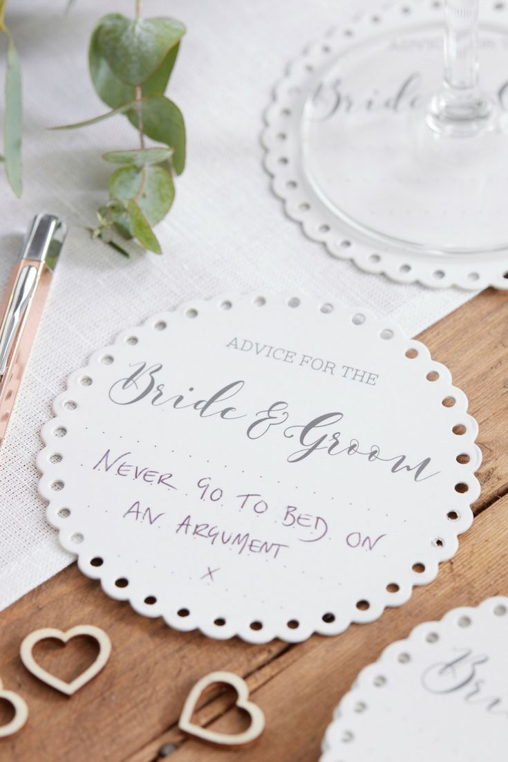 Advice For The Bride Groom Coasters Nice As An Alternative Wedding Guest Book