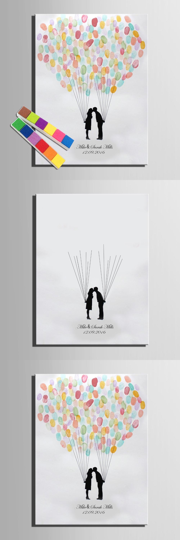 Visit to buy fingerprint tree signature canvas print kiss wedding