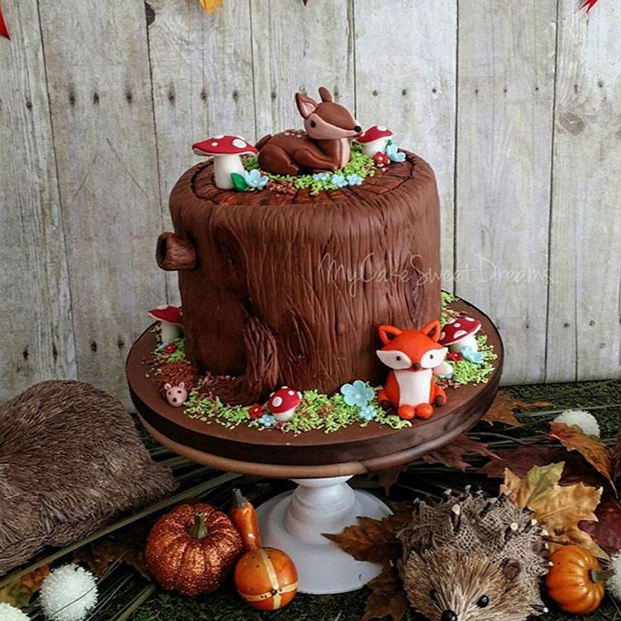 Woodland Baby Shower Cake Marble Chocolate Fillinggumpaste Figures Deer Fox