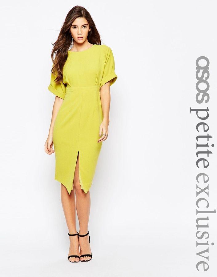 683571118551 ASOS PETITE Wiggle Dress with Split Front #asos #chartreuse #dress #fashion  #slit #petite
