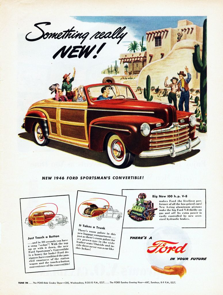 1946 Ford Super Deluxe AD *Ford/'s Out Front* Cartoon Animals