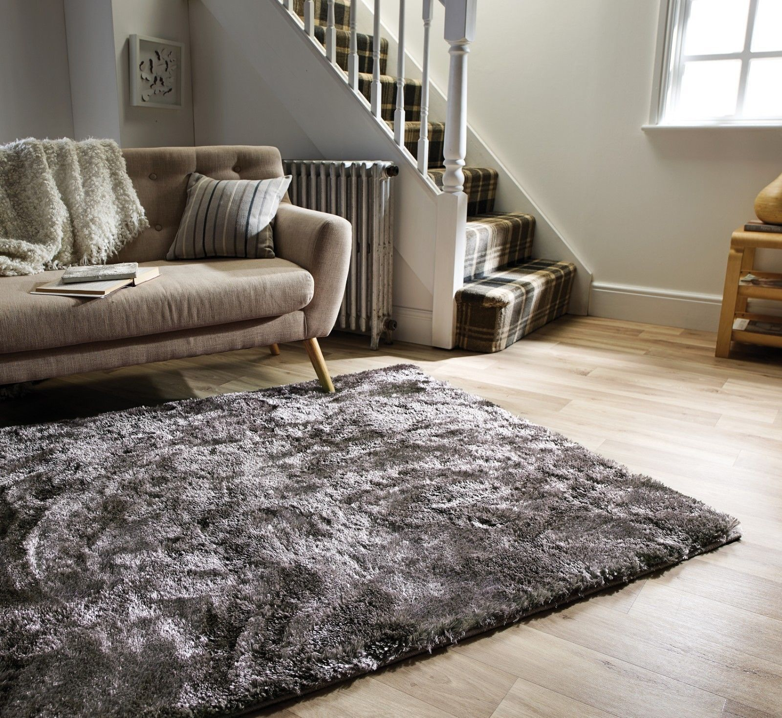 Details About Silky Soft Thick Pile Silver Grey Shaggy Crushed Velvet Effect Serenity Rug Rugs In Living Room Fur Rug Living Room Shaggy Rug