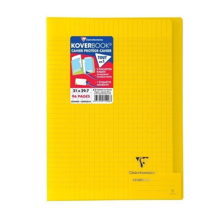 CLAIREFONTAINE – Carnet de notes à rabats KOVERBOOK – 21 x 29,7 – 96 pages Seyès – Couverture en polypropylène translucide – Jaune   – Products