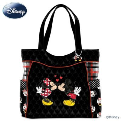 Expertly Crafted Designer Style Quilted Tote Bag With Art Of Disney S Mickey Mouse And Minnie Kissing A Matching Charm Dual Handleore