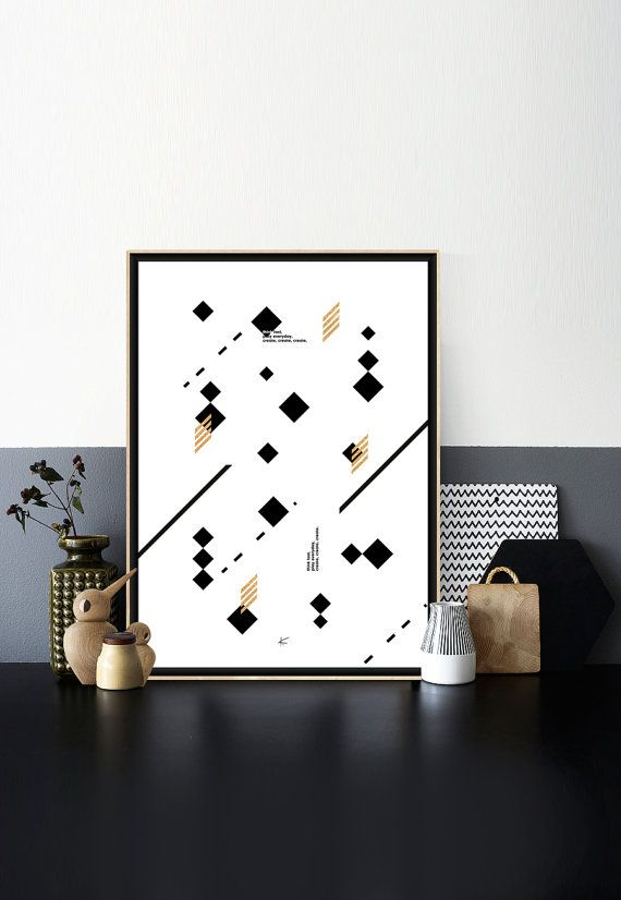Graphic Print Geometric Printable Minimalist Poster Gold Nordic Design Home Decor Scandinavian