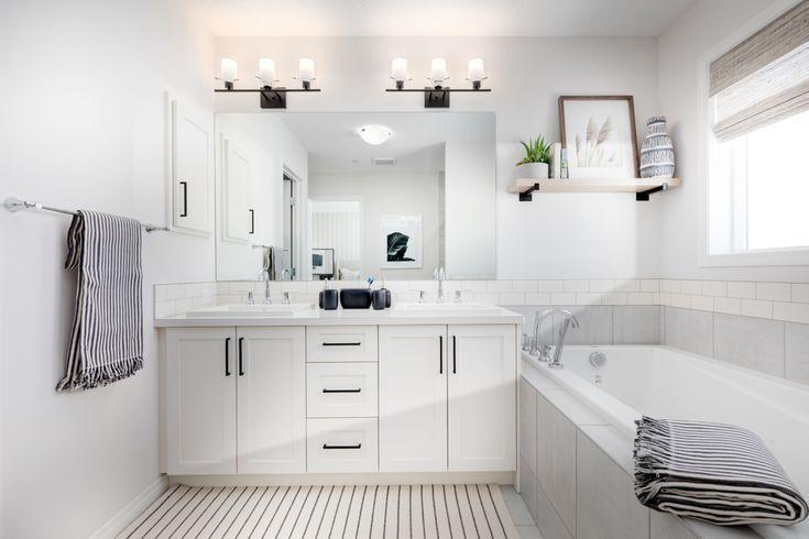 Master bathroom design. View more of this home: Collingwood Livingston  Ensuite Bath | Home design by Excel Homes #homedecor #masterbathroom #bathroom #bathroomdecor