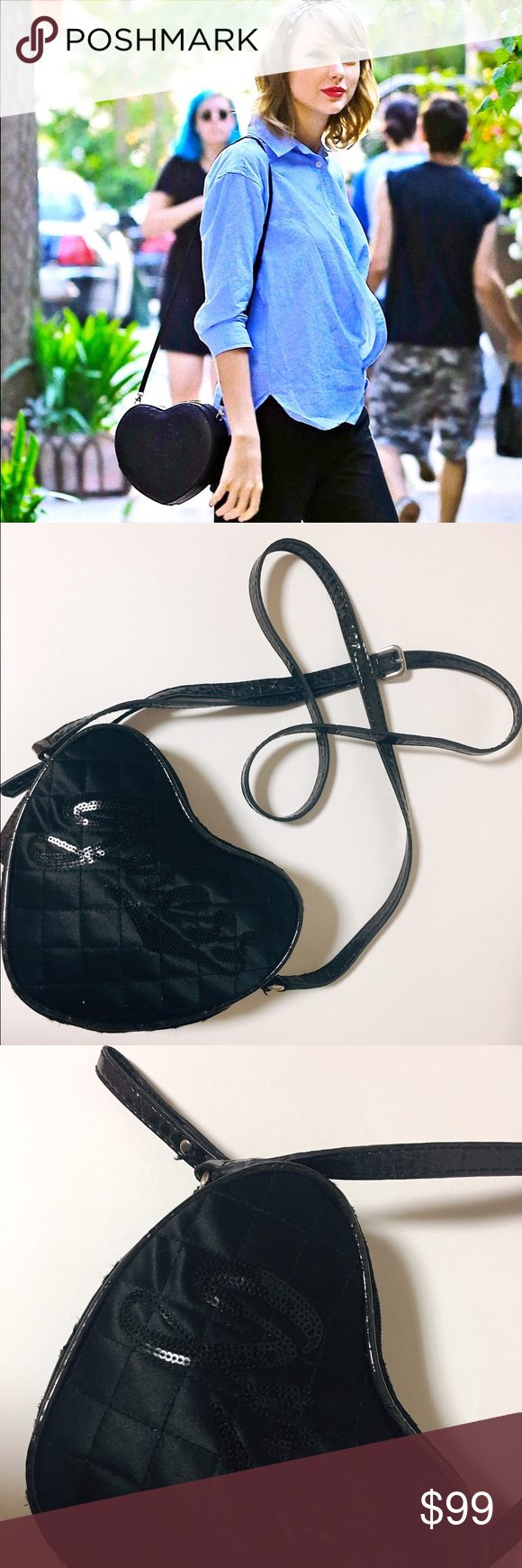 abb938c40 Guess Black Heart Sequined logo Crossbody bag Super cute and adorable heart  shaped crossbody from GUESS