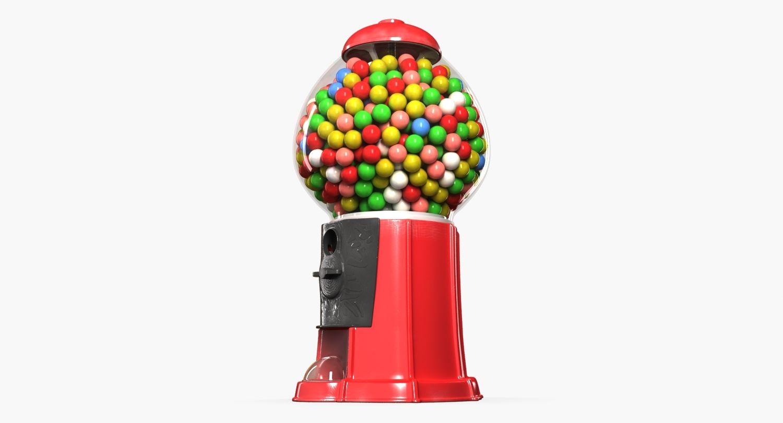 3d Model Candy Dispenser Gum Gumball Machine Distributor Ball Chewing Children Coin Kids Food Vending Bubble O Gumball Machine Gumball 3d Model