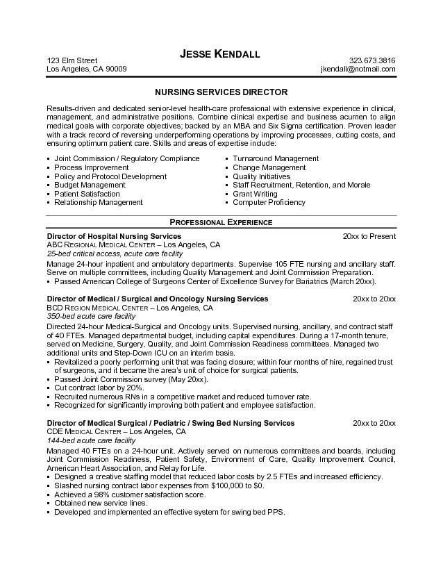 sle director of nursing resume http jobresumesle