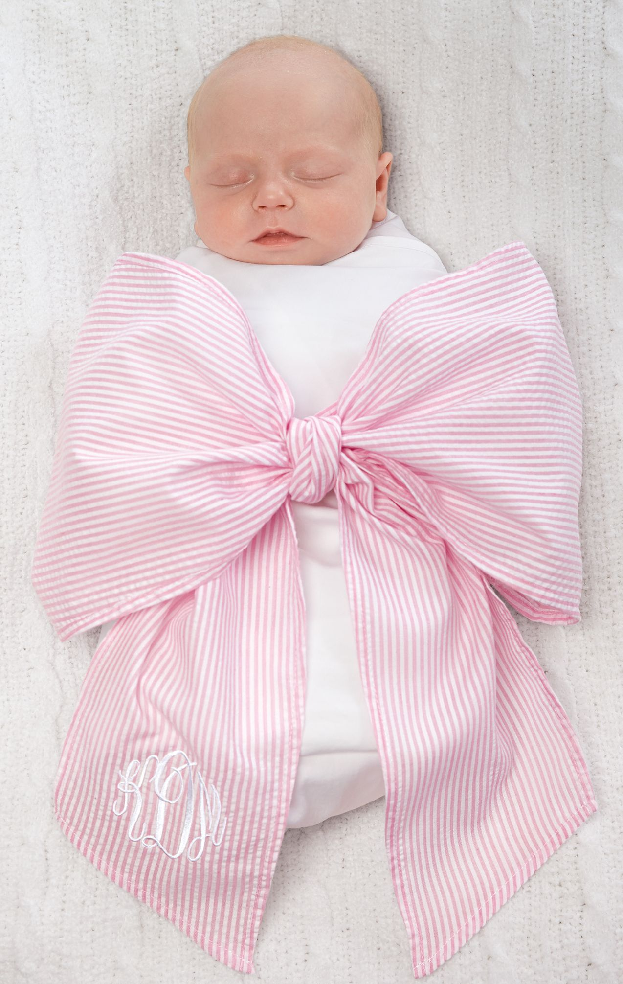 New Mud Pie Seersucker Bow Sash Pink Birth Announcement Maternity Photo Prop