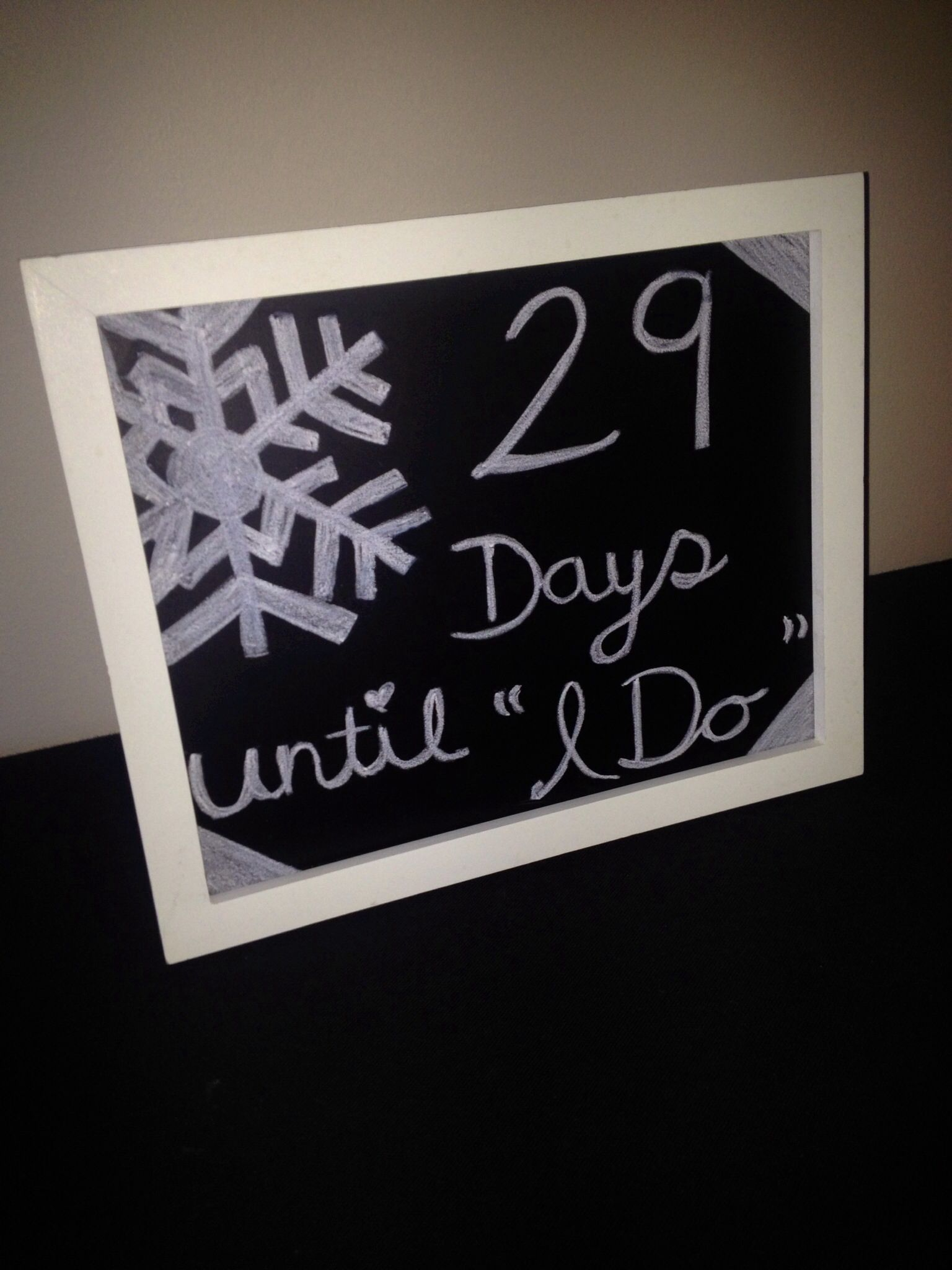 Diy wedding countdown frame piece of chalkboard to fit and chalk