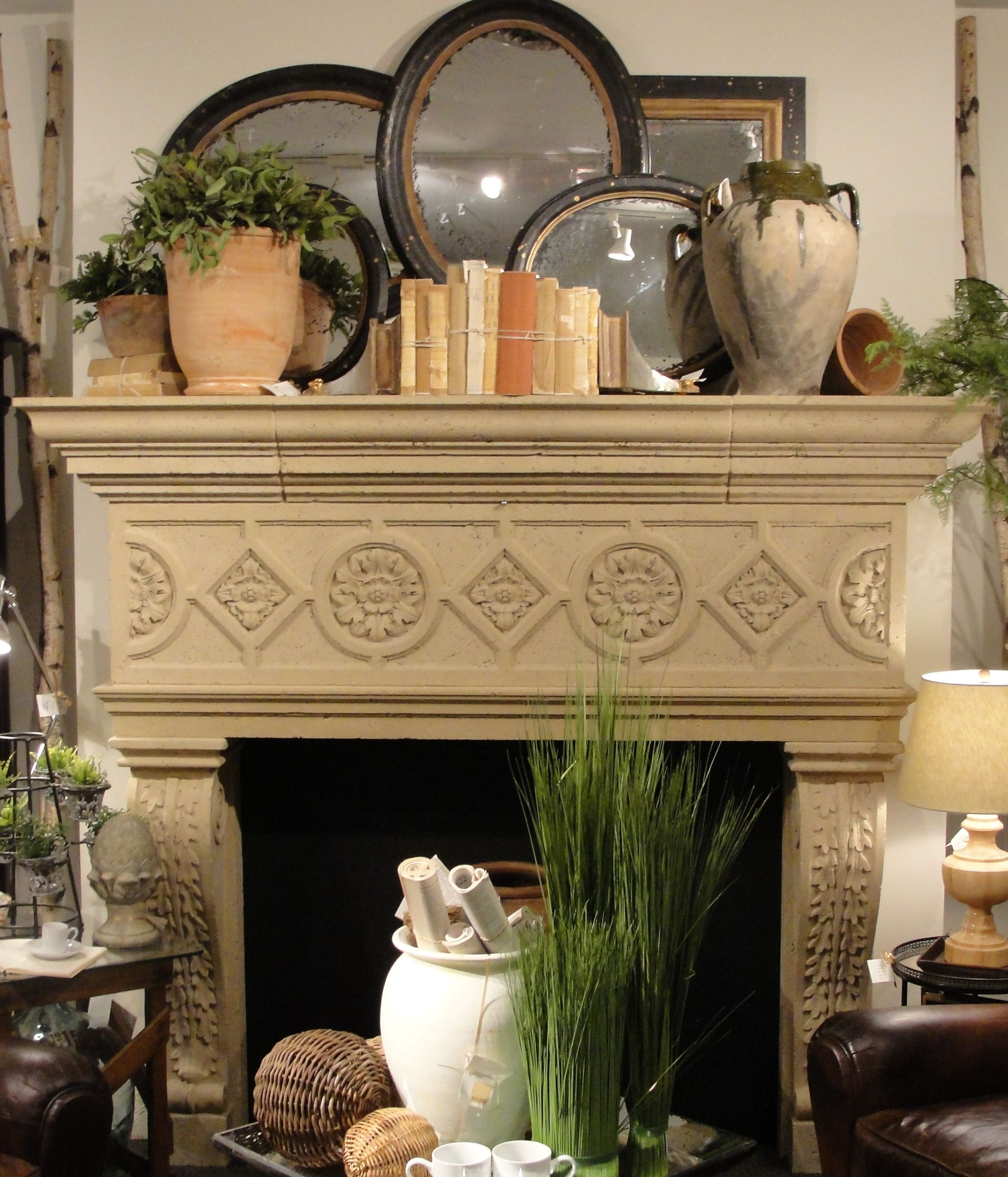 layered mirrors over fireplace mantel - Decor For Mantels